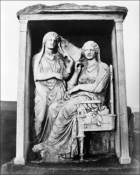Ancient Greek Sculpture of Two Women Above Tomb Photo Print for Sale