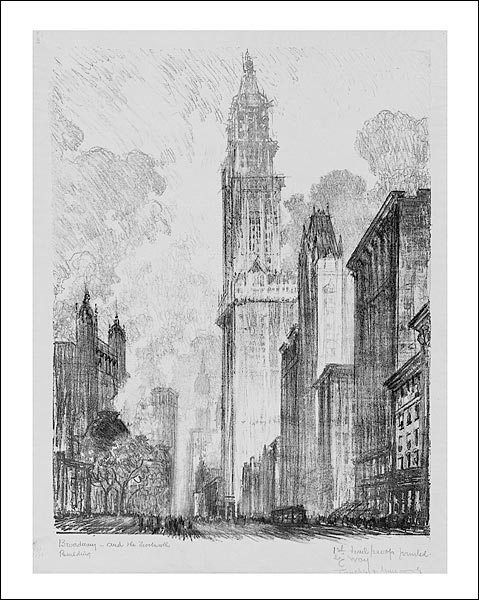 Woolworth Building Drawing New York City Photo Print for Sale