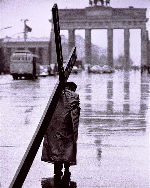 Lone Man Carries Cross Berlin West Germany Photo Print for Sale