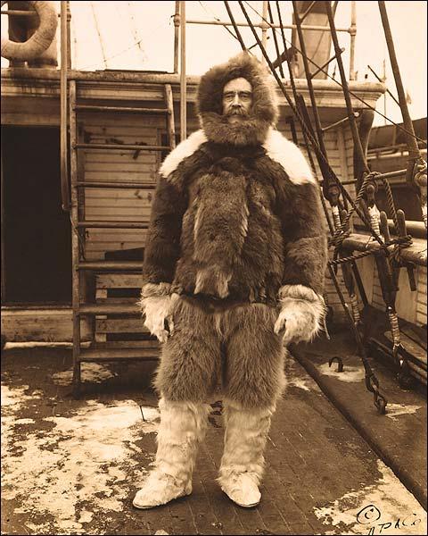 Arctic Explorer Robert E. Peary in Fur Suit 1909 Photo Print for Sale