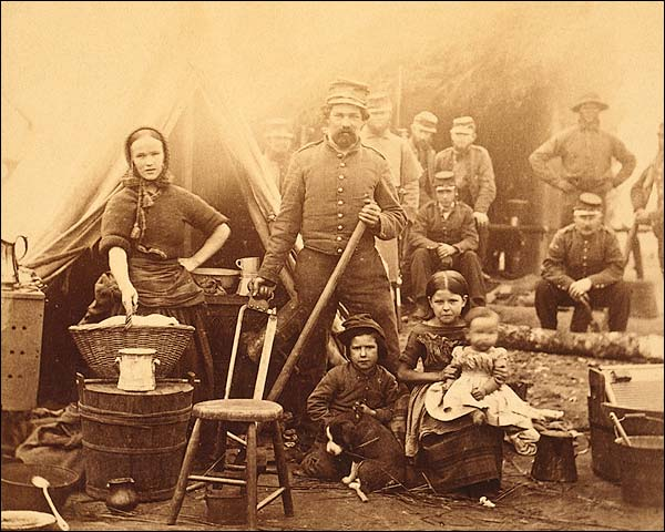 Civil War Woman w/ Children at Camp 1862 Photo Print for Sale