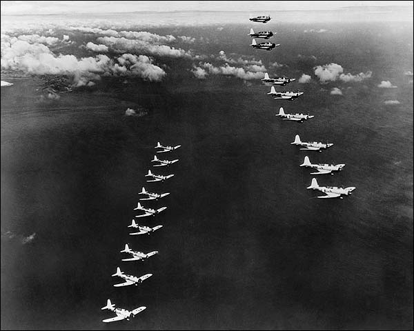 WWII Dive Bombers Aircraft in Formation Photo Print for Sale