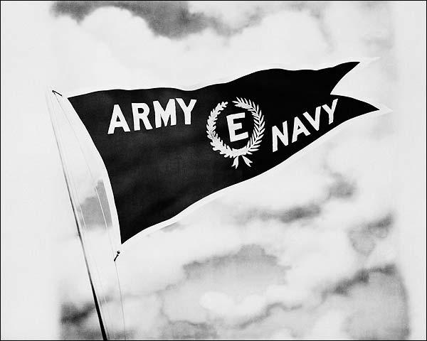 WWII Army Navy Flag Flying Full Staff Photo Print for Sale