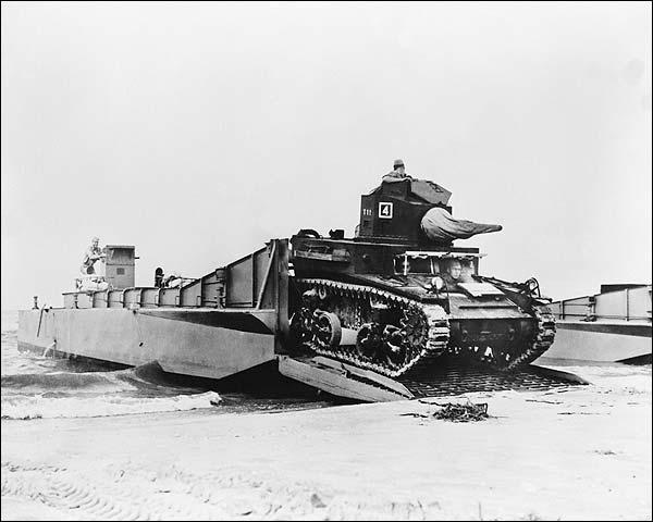 M-5 Stuart Tank Beach Landing WWII Photo Print for Sale
