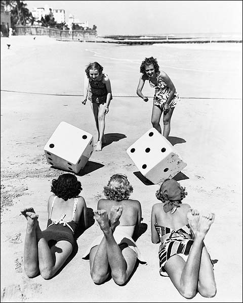 Bikini Beach Girls Roll Dice Lucky Seven Photo Print for Sale