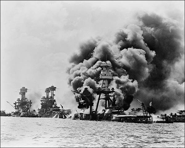 Pearl Harbor Attack USS Arizona Battleship WWII Photo Print for Sale