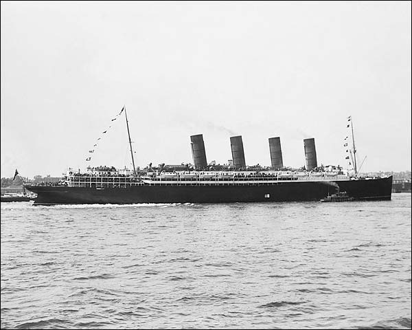 Lusitania Four Stack Cruise Ship Profile Photo Print for Sale