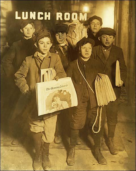 Brooklyn Bridge Newsboys, Lewis Hine 1908 Photo Print for Sale