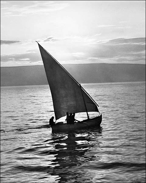 Sailboat Sail Boat Sailing at Sunrise 1930s Photo Print for Sale