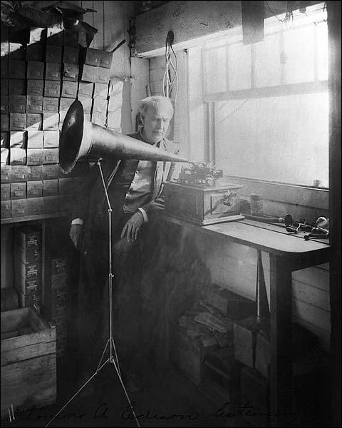 Thomas A. Edison Phonograph Portrait 1906 Photo Print for Sale