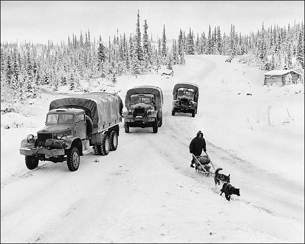 Army & Dogsled on Alcan Highway Alaska WWII Photo Print for Sale