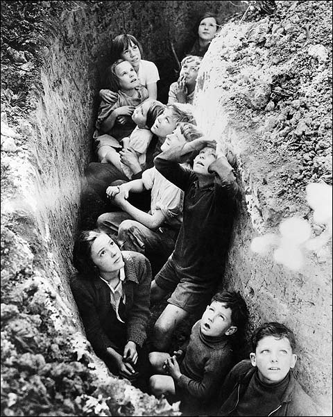 English Children in Bomb Shelters WWII 1940 Photo Print for Sale