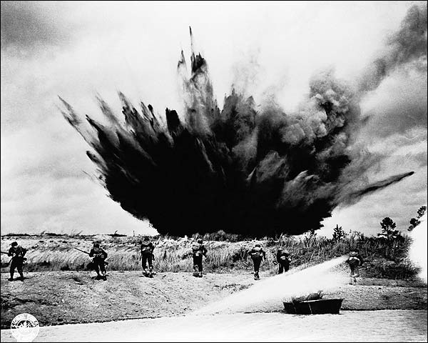 Bomb Exploding Near Troops WWII Photo Print for Sale