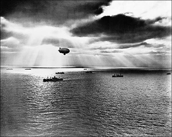 U.S. Navy Blimp & UN Convoy WWII 1943 Photo Print for Sale
