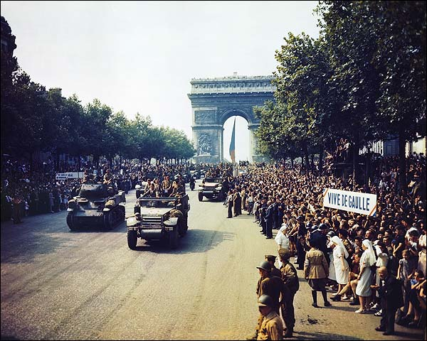 Champs Elysees During Paris Liberation 1944 Photo Print for Sale
