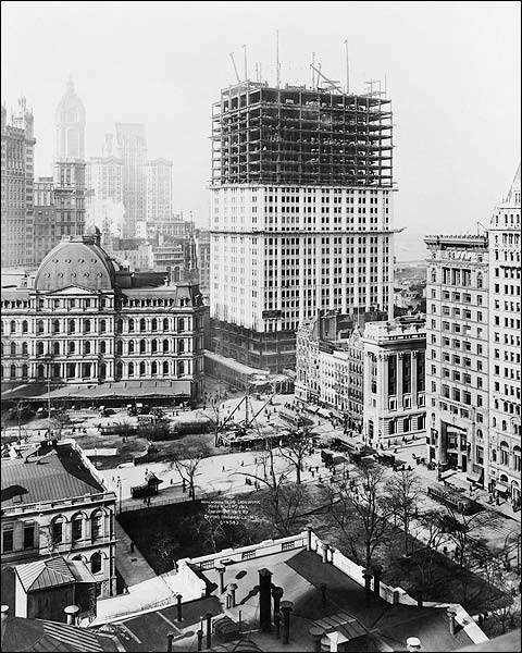 Woolworth Building Construction 1912 Irving Underhill  Photo Print for Sale