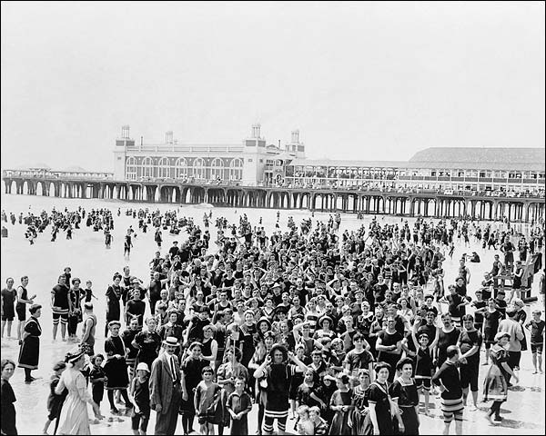 Atlantic City, New Jersey Beach Crowd 1910 Photo Print for Sale