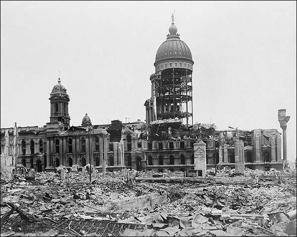 1906 San Francisco City Hall Earthquake Ruins Photo Print for Sale
