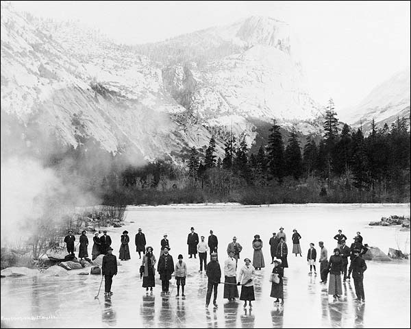 Skaters on Mirror Lake, Yosemite National Park 1911 Photo Print for Sale