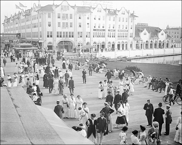 Asbury Park Boardwalk Crowds NJ Early 1900s Photo Print for Sale