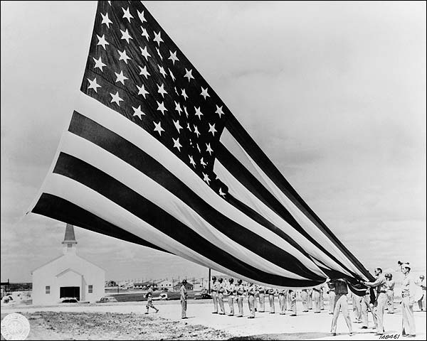 Soldiers Unfold 48 Star American Flag Photo Print for Sale