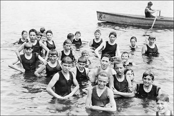 Boys Swimming At Camp Ranachqua NY 1919 Photo Print for Sale