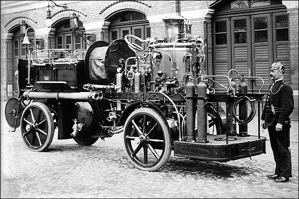 German Firefighter Auto Fire Engine Early 1900s Photo Print for Sale