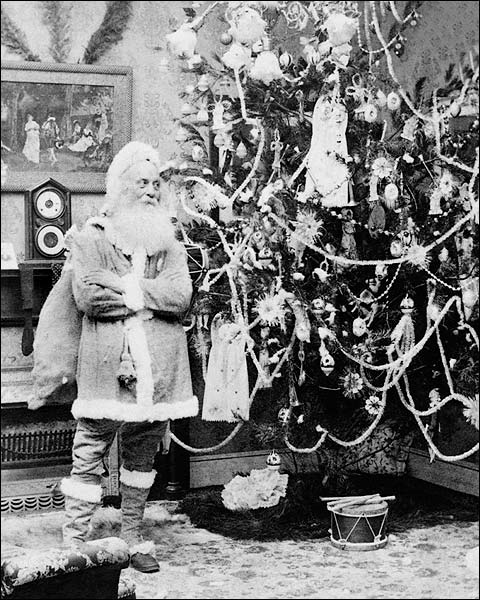 Antique Santa Claus & Christmas Tree 1897 Photo Print for Sale