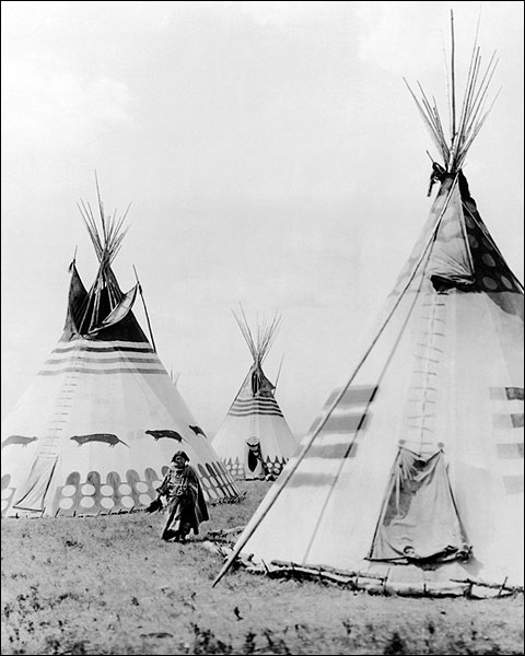 Indian Woman in Blood Camp with Tipis 1913 Photo Print for Sale