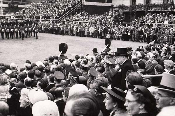 Winston Churchill Candid Among Stadium Crowd Photo Print for Sale