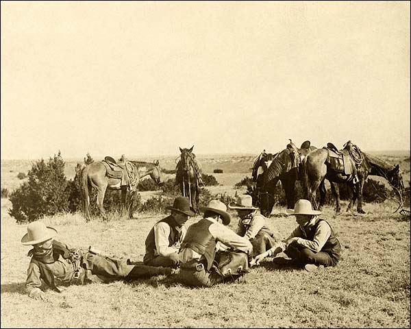 Old West Cowboys Relaxing on the Ranch 1906 Photo Print for Sale