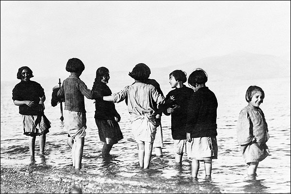 Greek Orphan Children Play in Mediterranean Photo Print for Sale