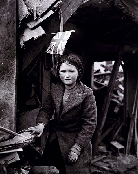 WWII English Girl Among Ruins w/ Union Jack Flag Photo Print for Sale