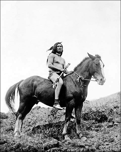 Nez Percé Warrior on Horse Edward S. Curtis Photo Print for Sale