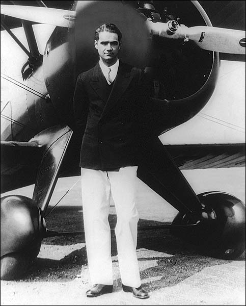 Howard Hughes Portrait w/ Boeing Plane Photo Print for Sale