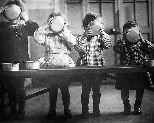 WWII Orphans in France Enjoy a Meal Photo Print for Sale