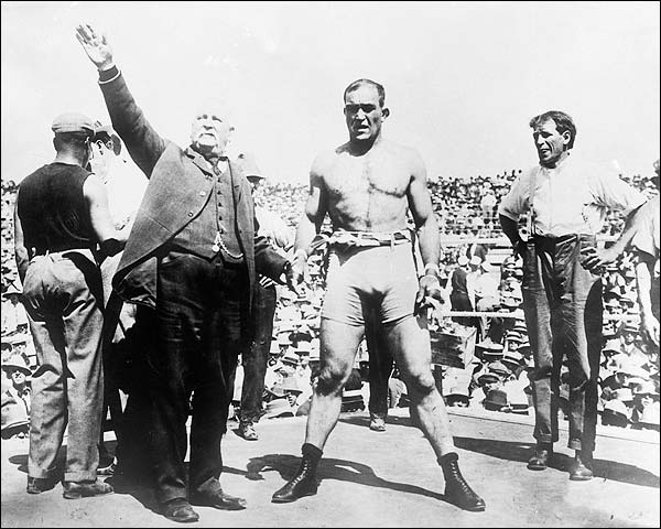 Unidentified Boxer and Announcer 1900s Photo Print for Sale