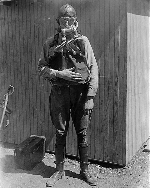 U.S. Boy Scout Wearing a Gas Mask Photo Print for Sale