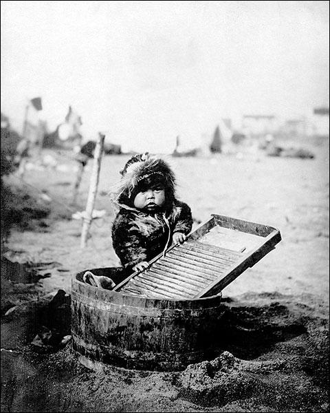 Eskimo Child & Washtub Alaska 1905 Portrait Photo Print for Sale