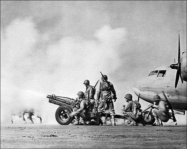Soldiers Shooting Cannon from Airstrip WWII Photo Print for Sale
