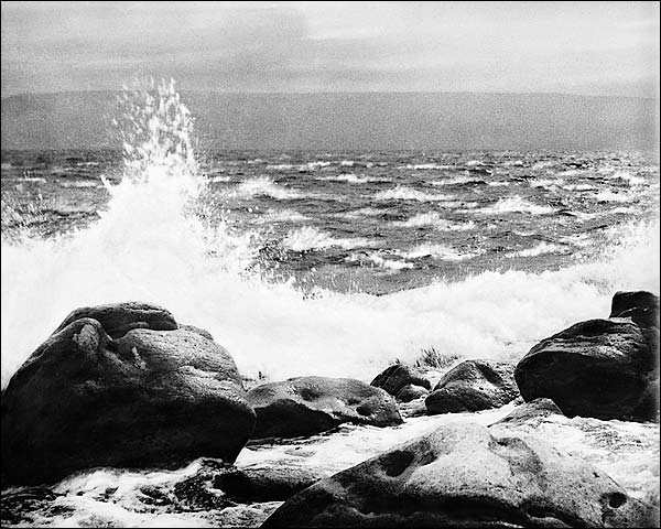 Great Storm w/ Rocks and Crashing Waves Photo Print for Sale