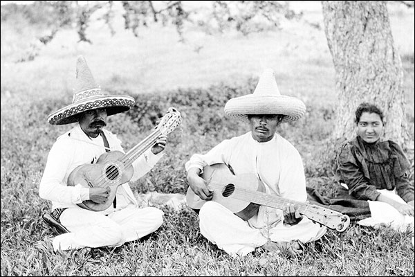 Mexican Guitar Picnic Mexico Early 1900s Photo Print for Sale