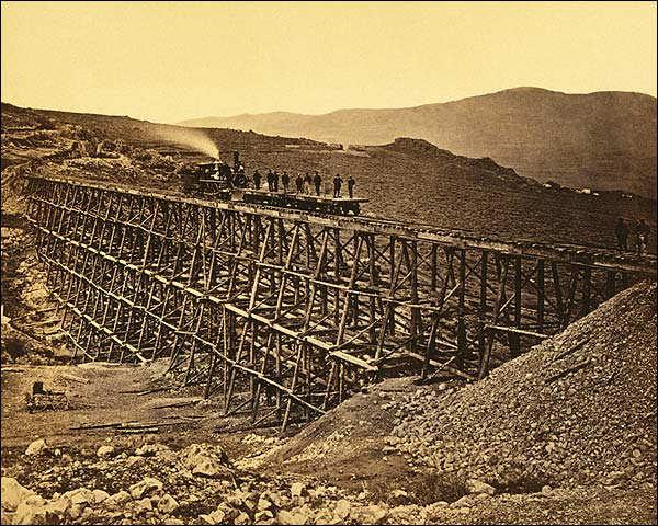 Promontory Point Railroad Train Bridge 1868 Photo Print for Sale
