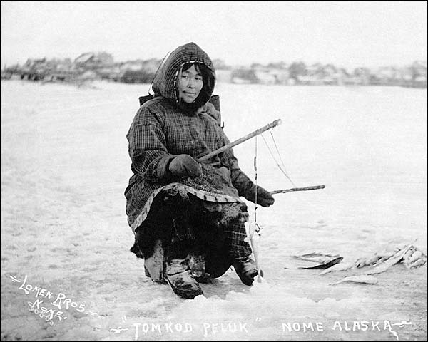 Eskimo Ice Fishing in Nome, Alaska Photo Print for Sale
