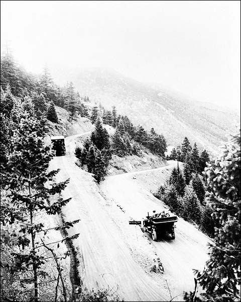 Vintage Autos Snowy Mountain Road Colorado Photo Print for Sale
