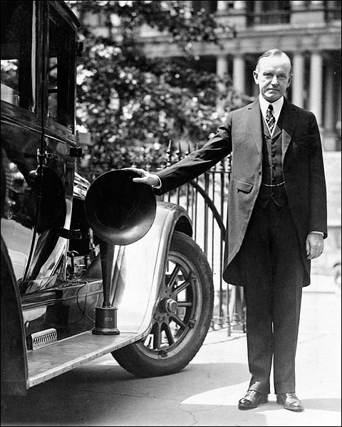Calvin Coolidge with Campaign Radio Equipment Photo Print for Sale