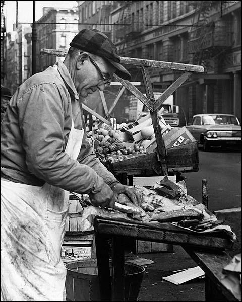 New York City Fish Market Fishmonger 1964 Photo Print for Sale