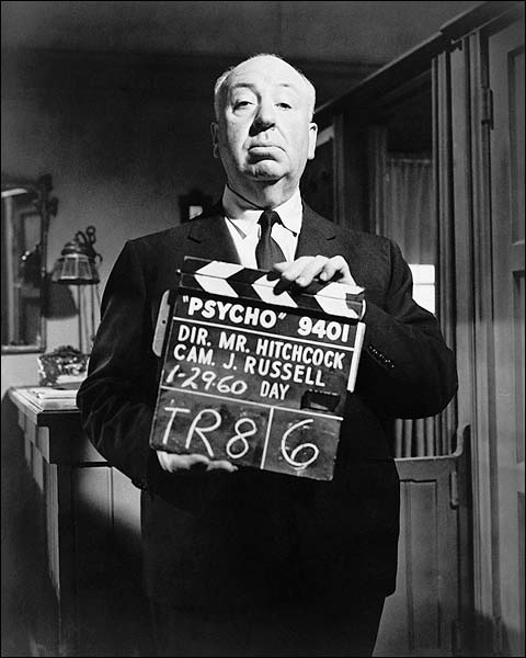 Alfred Hitchcock Portrait Psycho Movie Set Photo Print for Sale