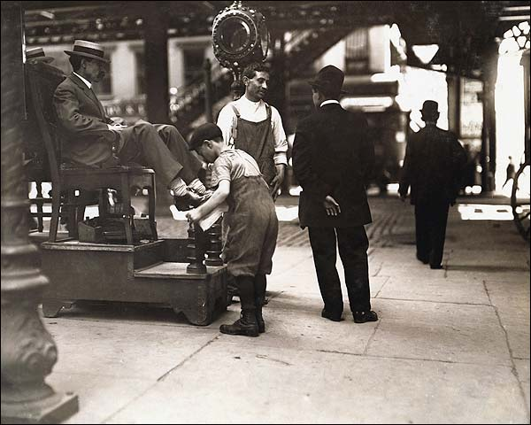 Lewis Hine NYC Shoeshine Boot Black Photo Print for Sale