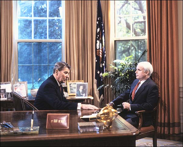 Senator John McCain w/ Ronald Reagan Photo Print for Sale